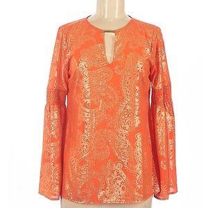 Michael Kors Long Sleeve Orange & Gold Blouse